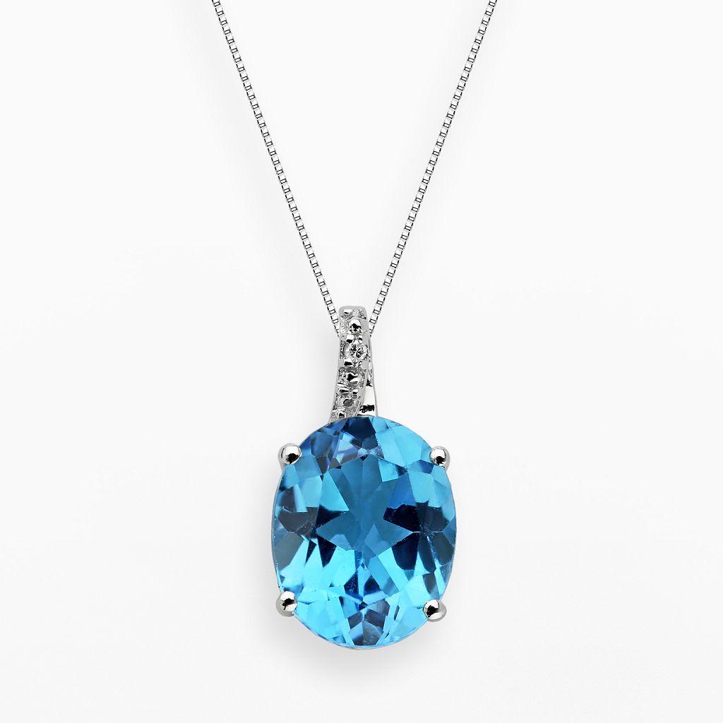 Sterling Silver Blue Topaz & Diamond Accent Oval Pendant