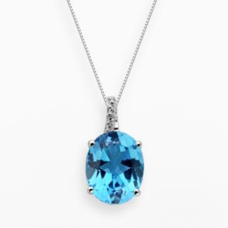 Sterling Silver Blue Topaz and Diamond Accent Oval Pendant