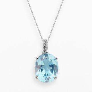 Sterling Silver Lab-Created Aquamarine and Diamond Accent Oval Pendant