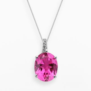 Sterling Silver Lab-Created Pink Sapphire and Diamond Accent Oval Pendant