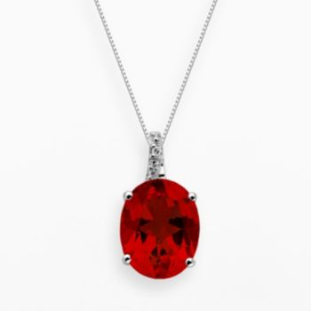Sterling Silver Lab-Created Ruby and Diamond Accent Oval Pendant