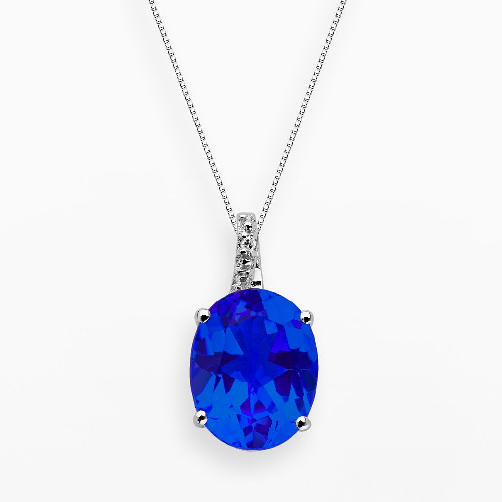 Sterling Silver Lab-Created Sapphire & Diamond Accent Oval Pendant