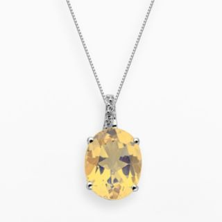 Sterling Silver Citrine and Diamond Accent Oval Pendant