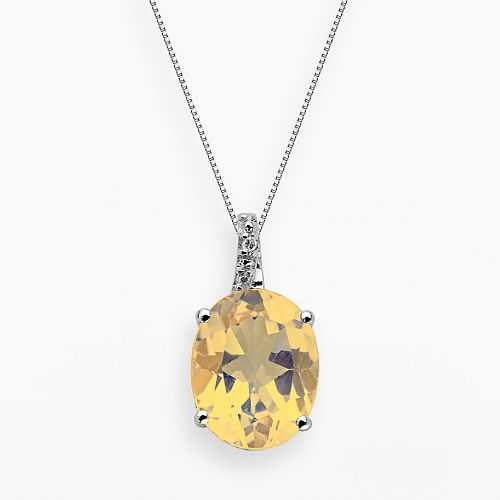 Sterling Silver Citrine & Diamond Accent Oval Pendant