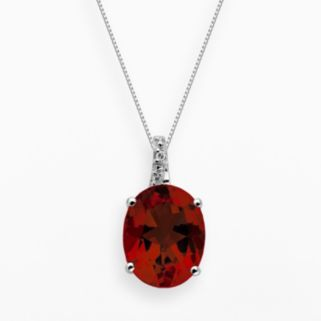 Sterling Silver Garnet and Diamond Accent Oval Pendant