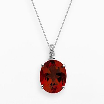 Sterling Silver Garnet & Diamond Accent Oval Pendant