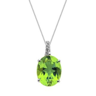 Sterling Silver Peridot and Diamond Accent Oval Pendant