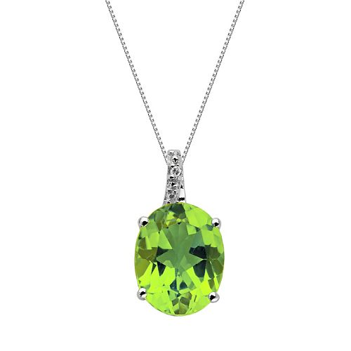 Sterling Silver Peridot & Diamond Accent Oval Pendant