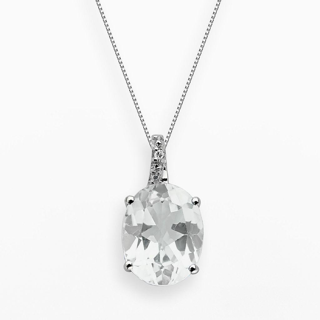 Sterling Silver White Topaz & Diamond Accent Oval Pendant
