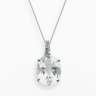 Sterling Silver White Topaz and Diamond Accent Oval Pendant