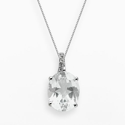 Sterling Silver White Topaz & Diamond Accent Oval Pendant