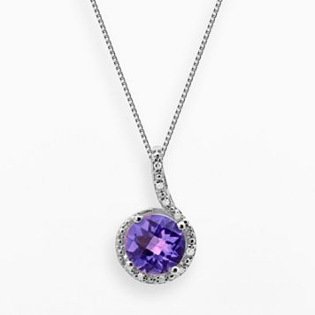 Sterling Silver Amethyst & Diamond Accent Pendant
