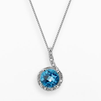 Sterling Silver Blue Topaz and Diamond Accent Pendant