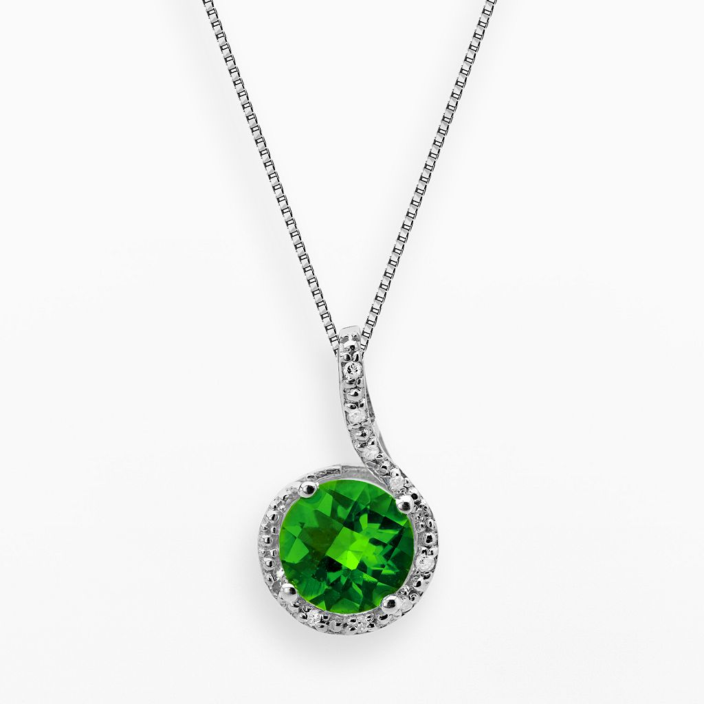 Sterling Silver Lab-Created Emerald & Diamond Accent Pendant