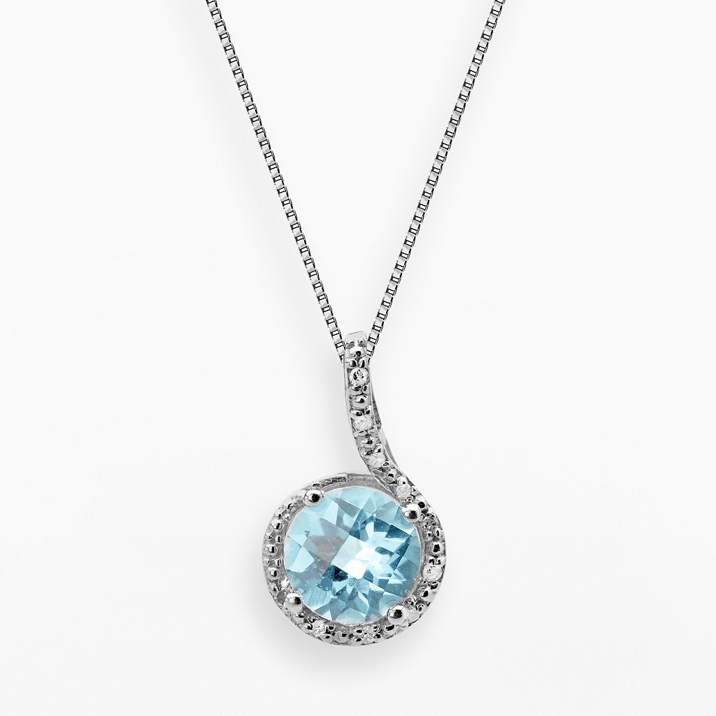 Sterling Silver Lab-Created Aqua & Diamond Accent Pendant