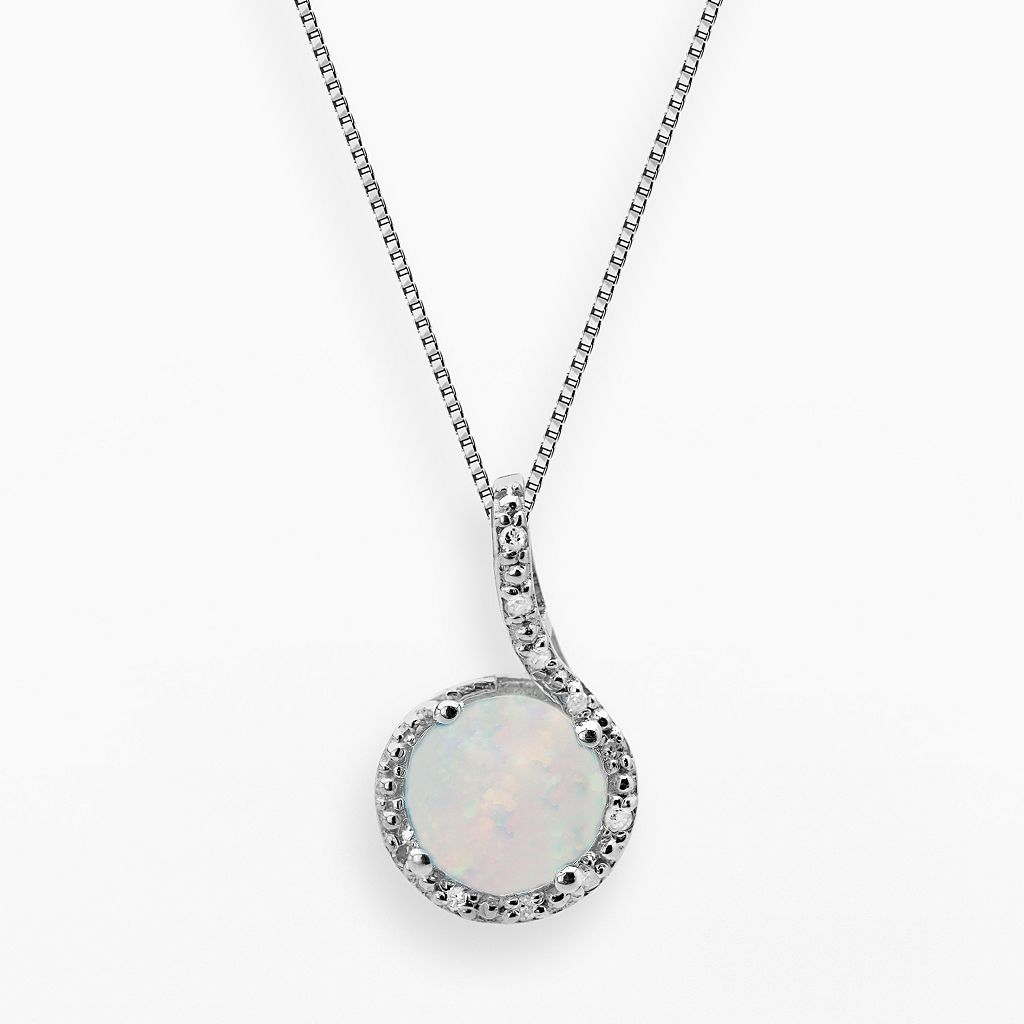 Sterling Silver Lab-Created Opal & Diamond Accent Pendant