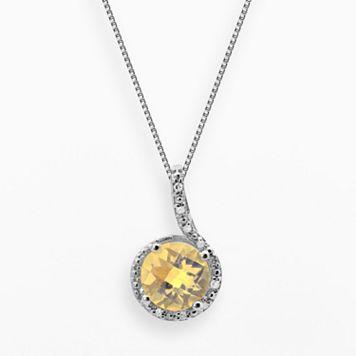 Sterling Silver Citrine & Diamond Accent Pendant