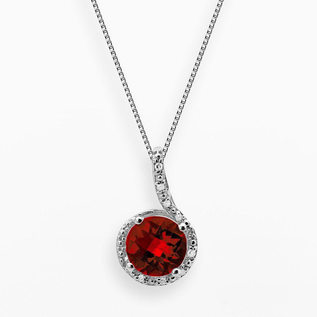 Sterling Silver Garnet & Diamond Accent Pendant
