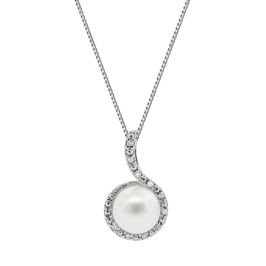 Sterling Silver Simulated Pearl & Diamond Accent Pendant