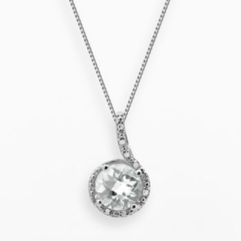 Sterling Silver White Topaz and Diamond Accent Pendant