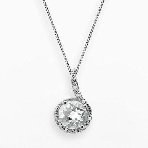 Sterling Silver White Topaz & Diamond Accent Pendant