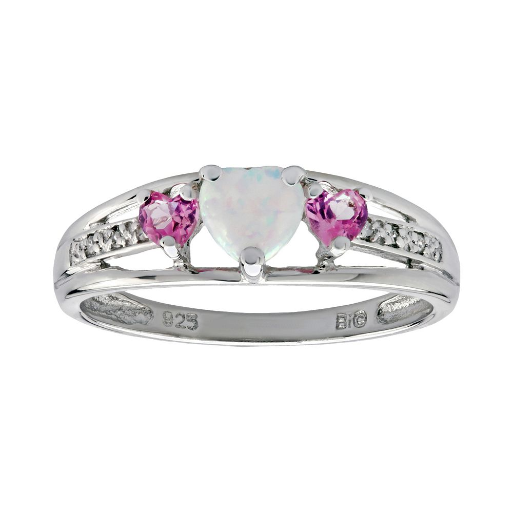 1f40c3ef5 Sterling Silver Lab-Created Opal, Lab-Created Pink Sapphire ...