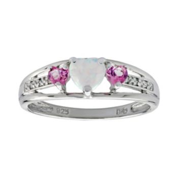 Sterling Silver Lab-Created Opal, Lab-Created Pink Sapphire and Diamond Accent Heart 3-Stone Ring