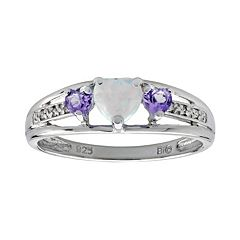 Sterling Silver Lab-Created Opal, Amethyst & Diamond Accent Heart 3-Stone Ring