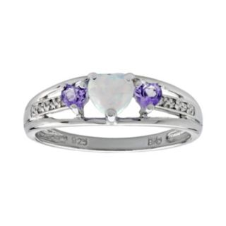 Sterling Silver Lab-Created Opal, Amethyst and Diamond Accent Heart 3-Stone Ring