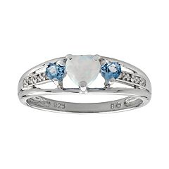 Sterling Silver Lab-Created Opal, Blue Topaz & Diamond Accent Heart 3-Stone Ring