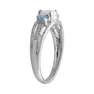 Sterling Silver Lab-Created Opal, Blue Topaz and Diamond Accent Heart 3-Stone Ring