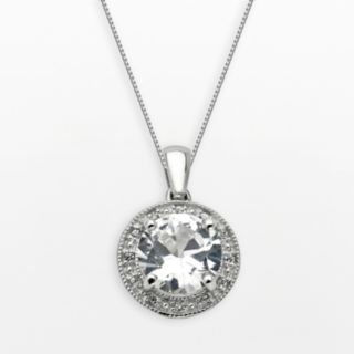 Sterling Silver White Topaz and Lab-Created White Sapphire Frame Pendant