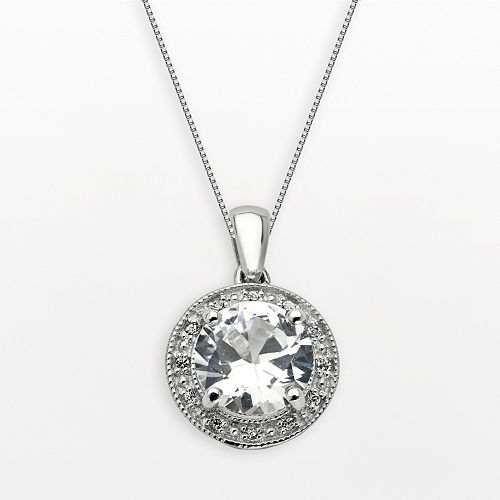 Sterling Silver White Topaz & Lab-Created White Sapphire Frame Pendant