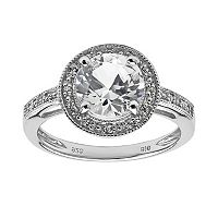Sterling Silver White Topaz, Lab-Created White Sapphire & Diamond Accent Round Frame Ring