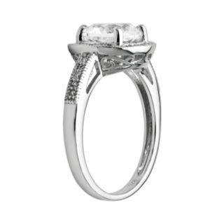 Sterling Silver White Topaz, Lab-Created White Sapphire and Diamond Accent Round Frame Ring