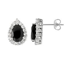 Sterling Silver Black Onyx & White Topaz Teardrop Stud Earrings