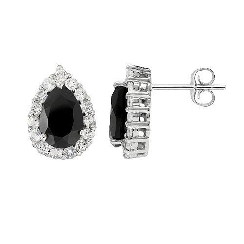 Sterling Silver Black Onyx & White Topaz Teardrop Stud Earrings