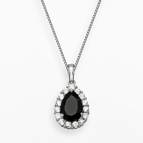 Sterling Silver Black Onyx & White Topaz Teardrop Pendant