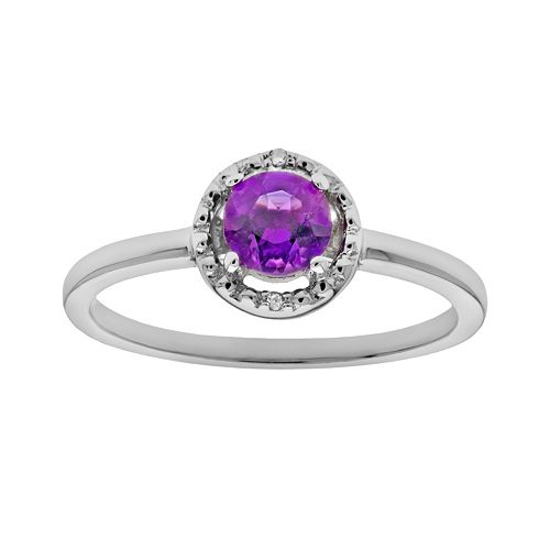 Sterling Silver Amethyst & Diamond Accent Halo Ring