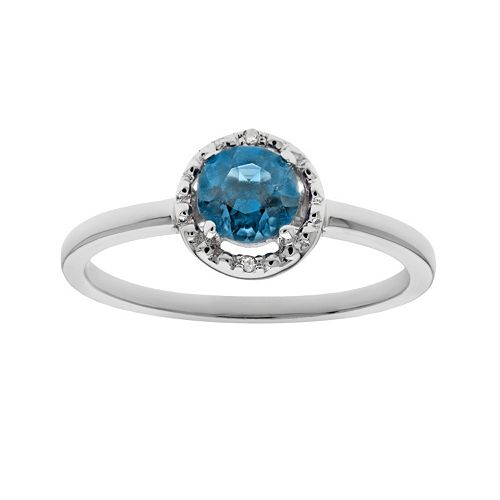 Sterling Silver Blue Topaz & Diamond Accent Halo Ring