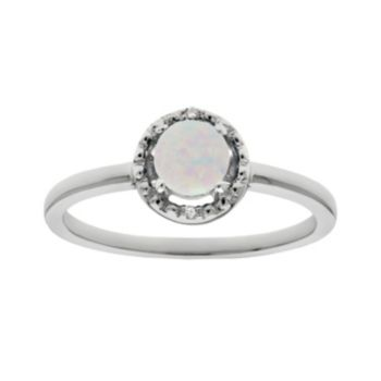 Sterling Silver Lab-Created Opal and Diamond Accent Halo Ring