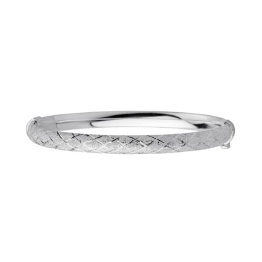 Sterling Silver Textured Crisscross Bangle Bracelet