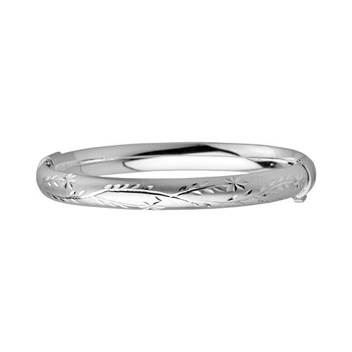 Sterling Silver Flower Bangle Bracelet