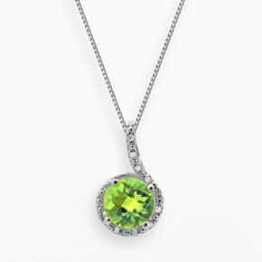 Sterling Silver Peridot and Diamond Accent Swirl Frame Pendant