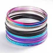 SO Tri-Tone Textured Bangle Bracelet Set