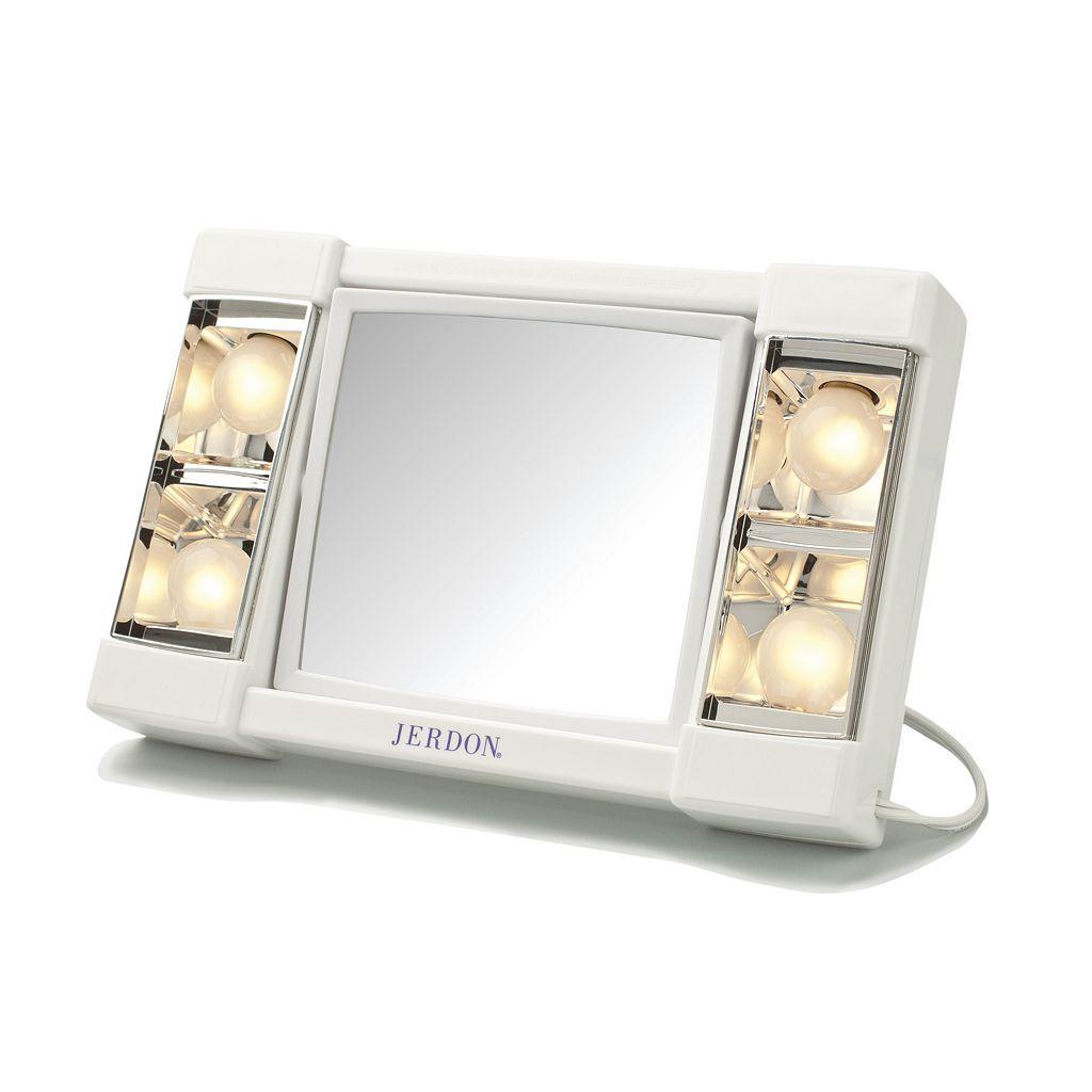 Jerdon Lighted Tabletop Makeup Mirror
