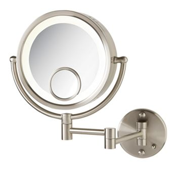 Jerdon Magnify Adjustable 8 1/2-in. Lighted Wall Mirror