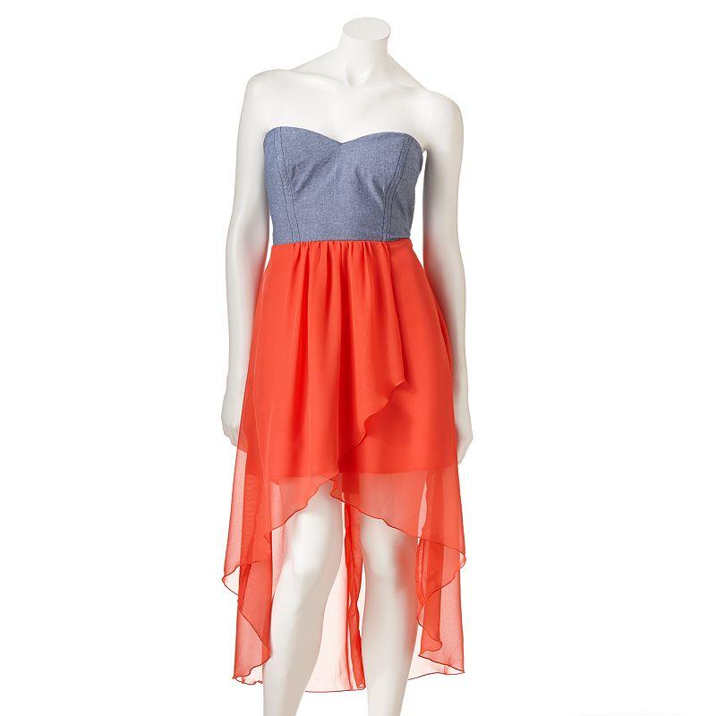 Trixxi Hi-Low Chambray Chiffon Strapless Dress - Juniors