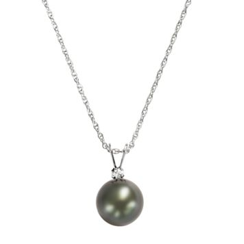 Sterling Silver Tahitian Cultured Pearl & White Topaz Pendant