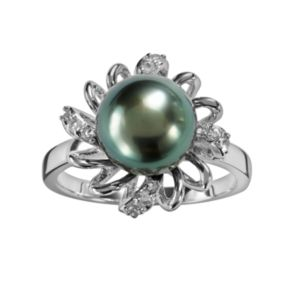 Sterling Silver Tahitian Cultured Pearl and White Topaz Flower Ring